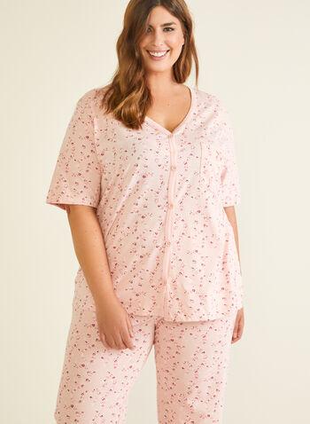 Pyjama 2 pièces motif floral, Rose,  pyjama, haut, capri, fleurs, boutons, automne hiver 2020