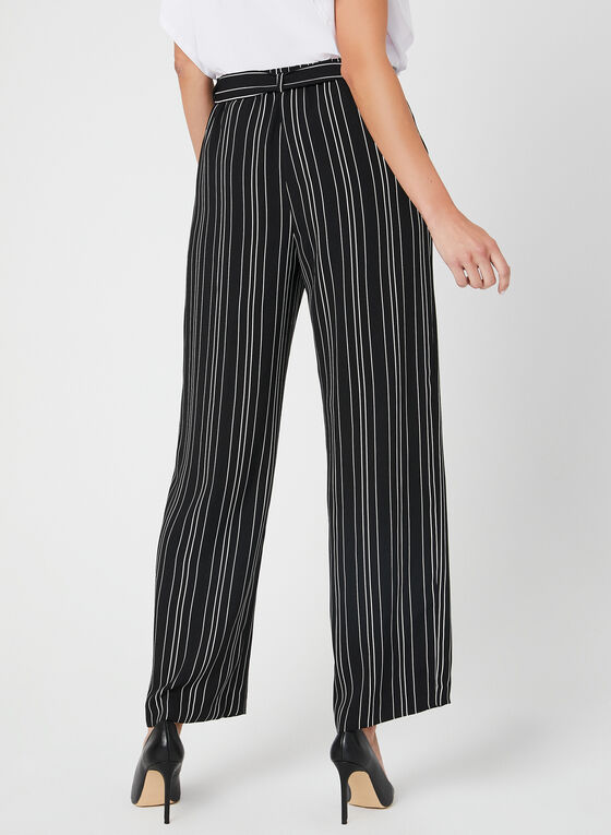 Stripe Print Wide Leg Pants, Black