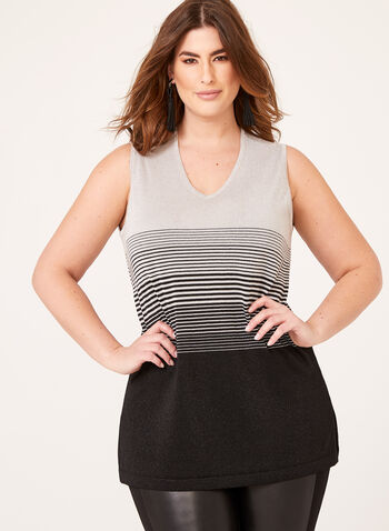 Sleeveless Lurex Top, Black, hi-res