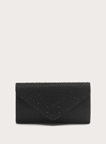 Stone Detail Glitter Clutch , Black, hi-res