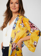 Floral Print Open Front Duster , Yellow, hi-res