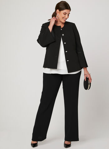 Cropped Bell Sleeve Blazer, Black, hi-res