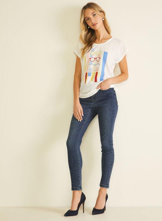 T-shirt motif lignes et lunettes, Blanc