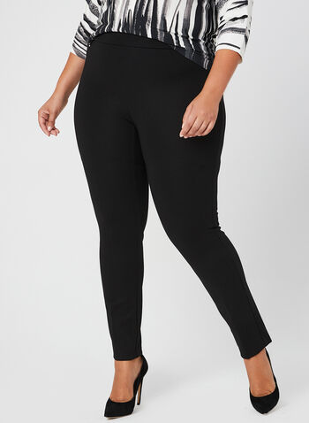 Slim Leg Comfort Fit Pants, Black, hi-res