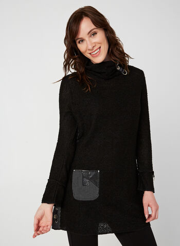Turtleneck Knit Tunic, Black,  tunic, long sleeves, turtleneck, knit, embellishments, buttons, leather, drawstring, fall 2019, winter 2019