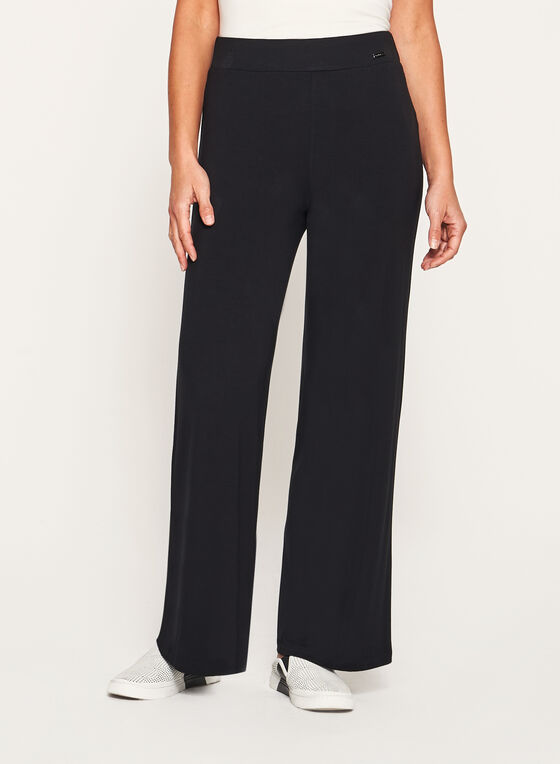Pull-On Straight Leg Knit Pants, Black, hi-res