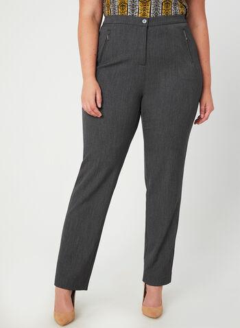 Pantalon coupe signature à jambe droite, Gris,  taille haute, hanches courbées, zip, bouton, fausses poches, automne hiver 2019