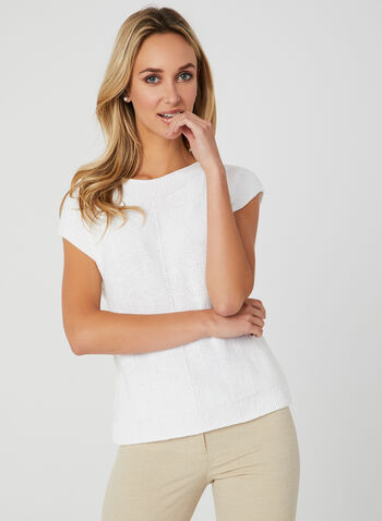 Drop Shoulder Knit Top, White, hi-res,