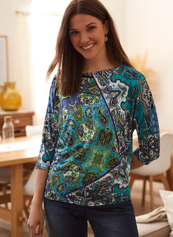 Paisley Print 3/4 Sleeve Top, Green,  spring summer 2021, made in Canada, patchwork print, paisley print, 3/4 sleeve, dolman sleeve, top, blouse, scoop neck