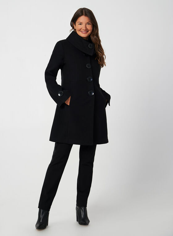 Manteau aspect laine à manches évasées, Noir