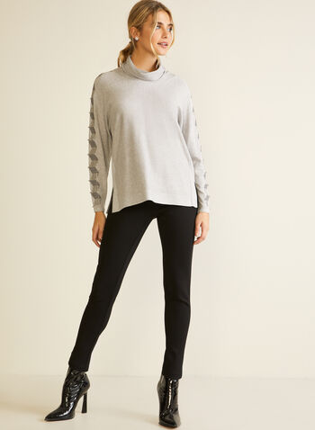 Beaded Dolman Sleeve Turtleneck Sweater, Grey,  fall winter 2020, sweater, knit, long sleeves, dolman sleeves, graphic print, beads, crystals, turtleneck, loose, tunic, holiday