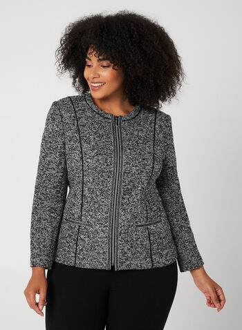 Long Sleeve Bouclé Jacket, Grey, hi-res,  long sleeves, boucle fabric, zipper in front, fall 2019, winter 2019