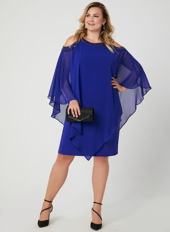 Cold Shoulder Poncho Dress, Blue, hi-res,  chiffon, jersey, cold shoulder, cutouts, sequins, layered, fall 2019, winter 2019
