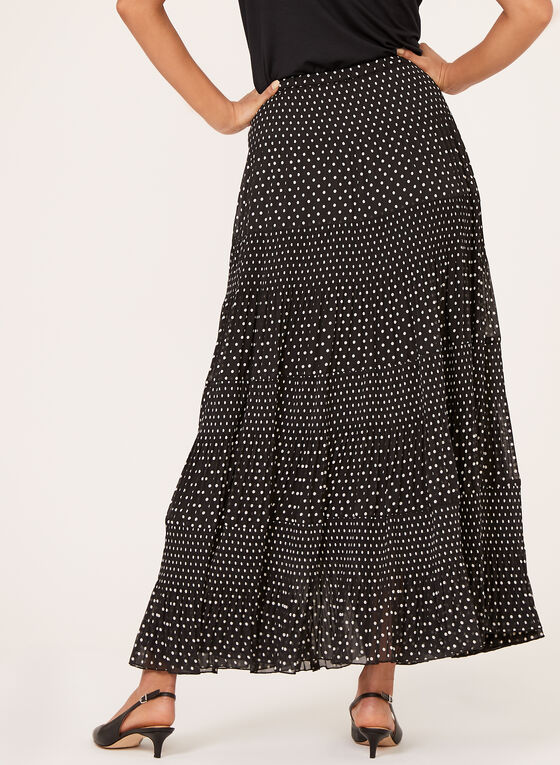 Alison Sheri - Polka Dot Maxi Skirt, Black, hi-res