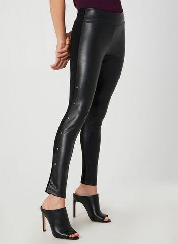Legging en faux cuir et rivets, Noir, hi-res,  legging, faux cuir, rivets, jambe étroite, pull-on, automne hiver 2019