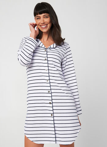 Comfort & Co. - Long Sleeve Nightshirt, Blue,  Comfort & Co., sleepwear, nightgown, nightshirt, pyjama, long sleeves, fall 2019, winter 2019