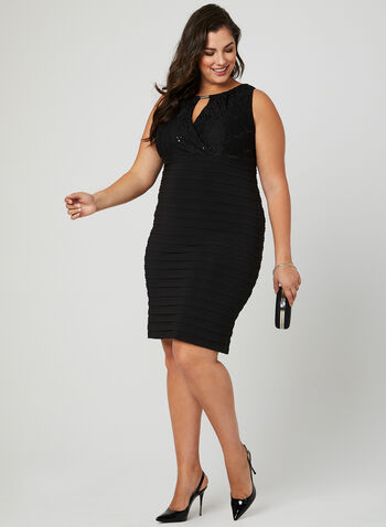Ribbed Empire Waist Dress, Black, hi-res