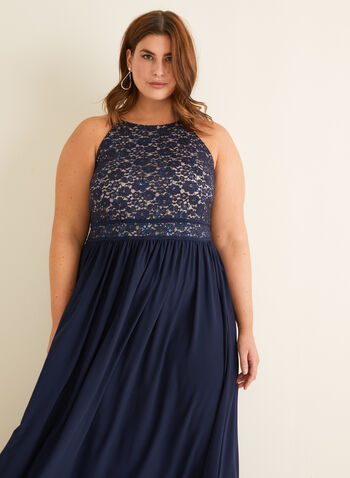 Lace Bodice Dress, Blue,  evening dress, lace, glitter, sequins, pleated, spaghetti straps, round neck, spring summer 2020