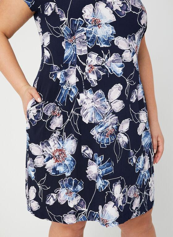 Robe fleurie à poches, Bleu, hi-res