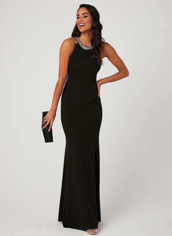 Rhinestone Cleopatra Neck Mermaid Dress, Black
