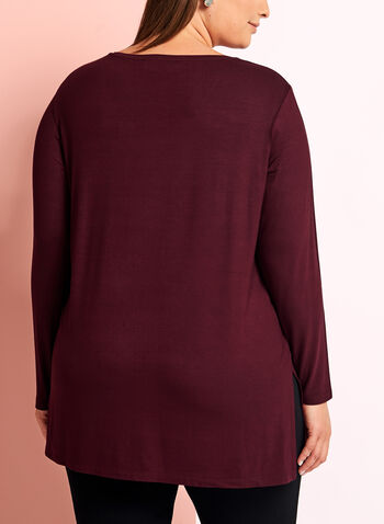 Long Sleeve V-Neck Knit Top, Red, hi-res