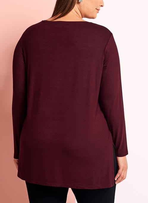 Long Sleeve V-Neck Knit Top, Red, hi-res