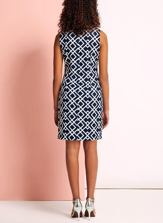 Sleeveless Geometric Print Dress, Blue, hi-res