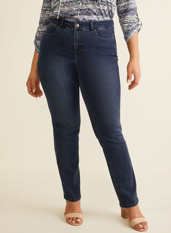 Straight Leg Jeans, Blue,  jeans, straight leg, pockets, cotton, stretchy, spring summer 2020