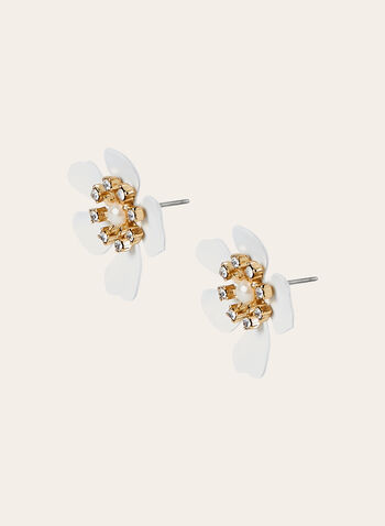 Flower Detail Stud Earrings, White, hi-res