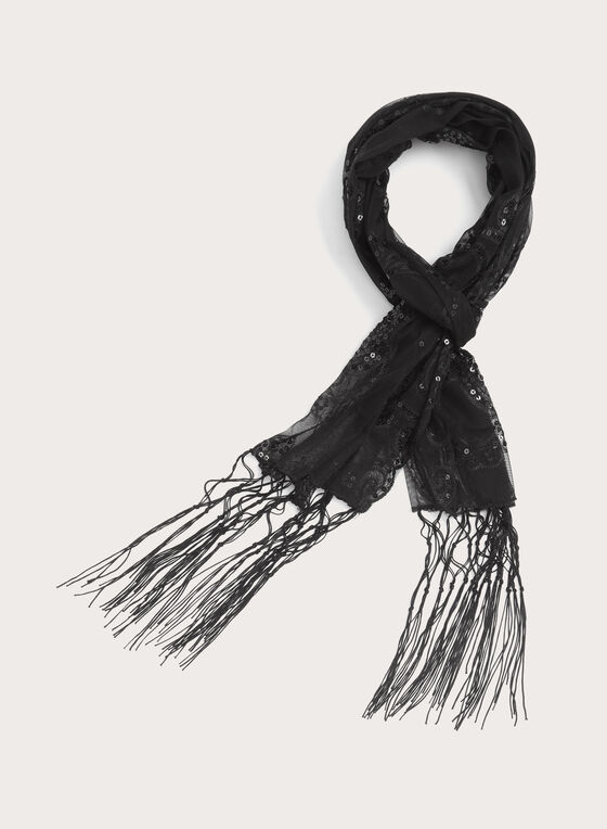 Fringed Sequin Scarf, Black, hi-res