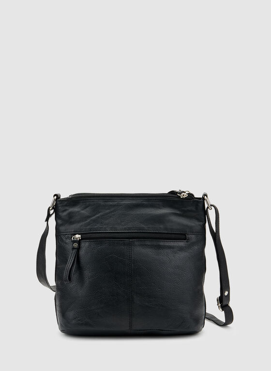 Genuine Leather Crossbody Bag, Black, hi-res