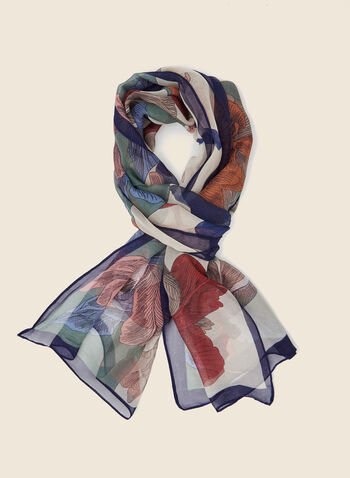 Floral Print Lightweight Scarf, Blue,  scarf, lightweight, floral, fall winter 2020