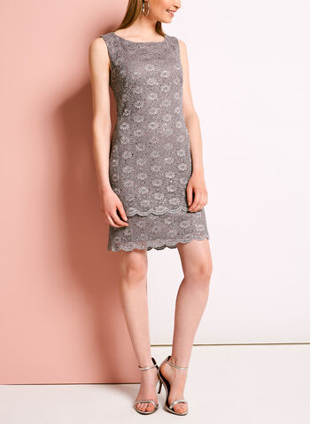 Glitter Lace Sheath Dress, , hi-res