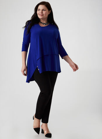 Joseph Ribkoff - Asymmetric Jersey Tunic, Blue,  fall winter 2019, 3/4 sleeves, jersey, asymmetric