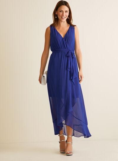 Ruffled Detail Chiffon Dress