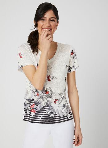 T-shirt motif papillons et strass, Noir, hi-res,  t-shirt, manches courtes, papillons, strass, rayures, col V, printemps 2019
