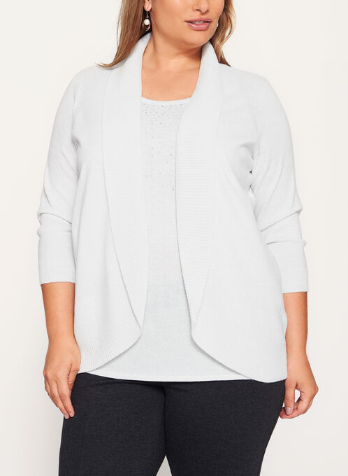 Crystal Embellished Knit Fooler Top, Off White, hi-res
