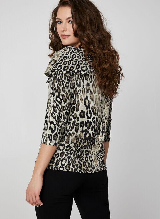 Haut motif léopard avec rabat zippé, Noir