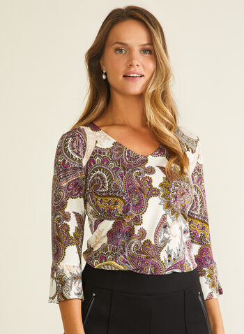 Paisley Print ¾ Sleeve Top, Multi,  top, 3/4 sleeves, v-neck, jersey, paisley print, fall winter 2020