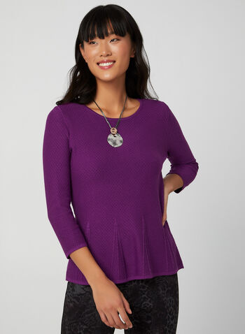 Scoop Neck Knit Sweater , Purple,  sweater, knit, flared hem, 3/4 sleeves, scoop neck, fall 2019