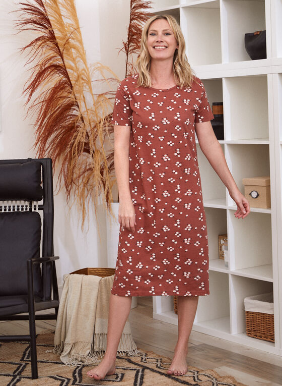 Floral Print Cotton Nightgown, Brown