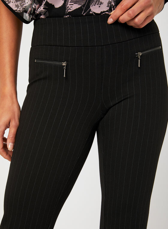 Pantalon rayé pull-on coupe cité, Noir, hi-res