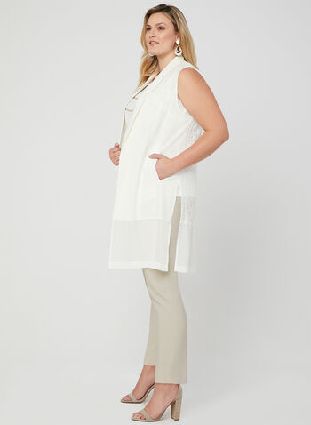 Picadilly - Sleeveless Open Front Jacket, White, hi-res