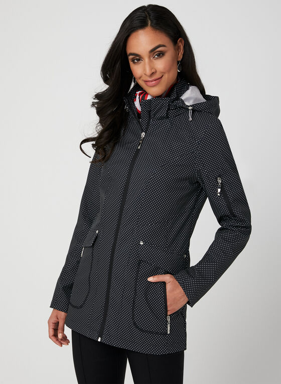 Polka Dot Print Raincoat, Black, hi-res