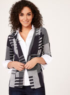 Geometric Print Open Front Cardigan , Blue, hi-res