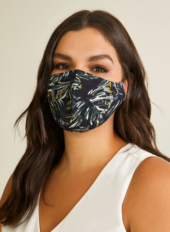 Pin Point - Tropical Leaf Print Mask, Blue,  mask, protective, reusable, washable, breathable, comfortable, spring summer 2020