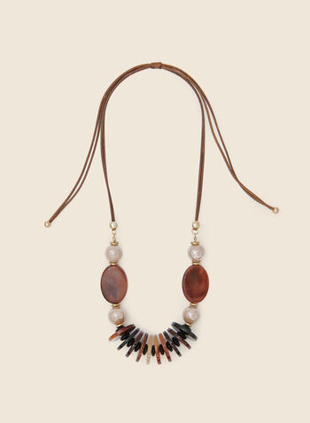Pearl And Stone Necklace, Brown,  fall winter 2020, jewellery, accessories, cord, disks, lucite