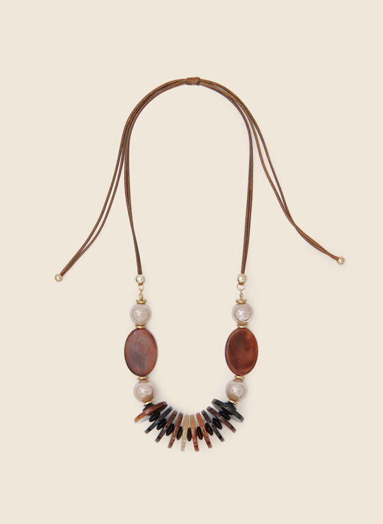 Pearl And Stone Necklace, Brown