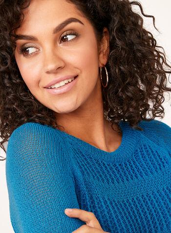 Pull tricot et crochet doublé, Bleu, hi-res