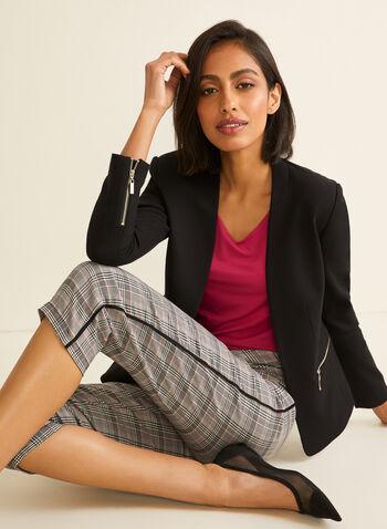 Capri pull-on motif tartan, Noir,  capri, pull-on, tartan, détails contrastants, bengaline, printemps été 2020